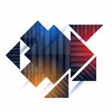 有光泽的正方形和三角形的抽象几何元素。