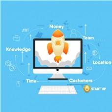 蓝色背景电脑及商业策略