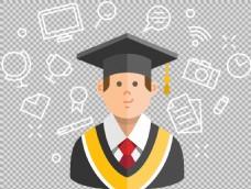 毕业生插画免抠png透明图层素材