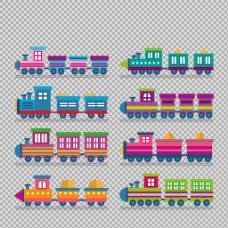 手绘彩色火车插图免抠png透明图层素材