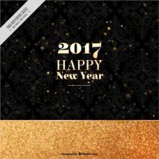 金色和黑色的新年快乐背景