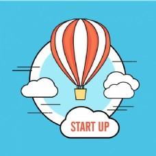 热气球在平面设计中的商业背景