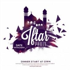 开斋聚会请柬、海报、横幅、传单设计、背景与清真寺,笔触和色调点缀的伊斯兰节日观念的影响。