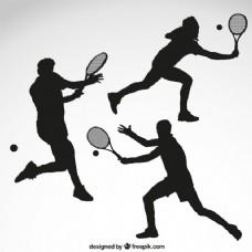 网球运动员剪影