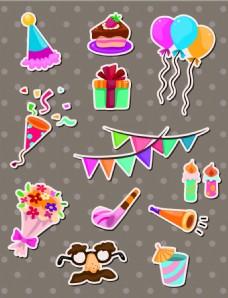 生日聚会儿童卡通贴纸标签矢量