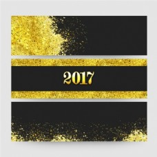 三黑色横幅金色纸屑新年包