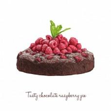 美味的巧克力派配覆盆子和薄荷