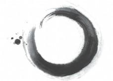 手绘水墨圆形元素