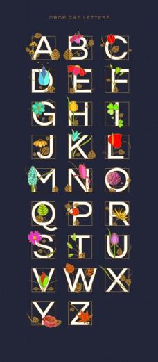 创意花朵穿插文字英文字母矢量设计素材