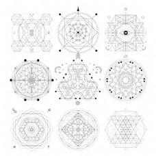 多边形几何线条创意法阵矢量素材