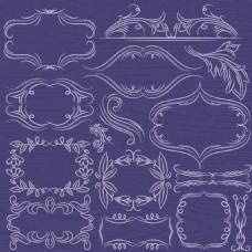 树枝相框分割线与复古装饰元素