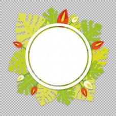 绿叶圆形花边免抠png透明图层素材
