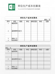 单位生产成本估算表Excel图表