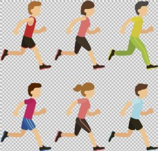 手绘卡通跑步者免抠png透明图层素材