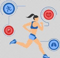 跑步的美女免抠png透明图层素材