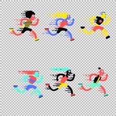 彩色跑步者图形免抠png透明图层素材