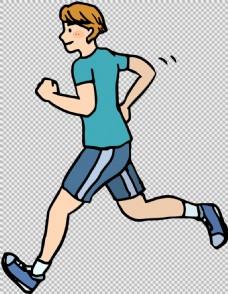 手绘风格跑步者免抠png透明图层素材
