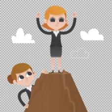 登上山顶的商务女士免抠png透明图层素材