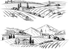 黑白绘农场插画