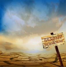 沙漠上的路牌图片