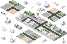 城市工业区插画