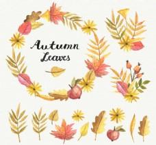 彩绘秋季叶子矢量