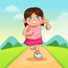 奔跑的卡通女孩图片