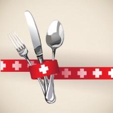 红色创意餐厅菜单Logo设计