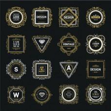 欧式复古华丽装饰Logo设计矢量