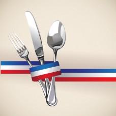 蓝白餐厅菜单Logo设计