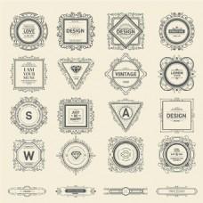 复古华丽装饰Logo设计矢量