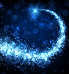 蓝色背景上的动感粒子光效背景