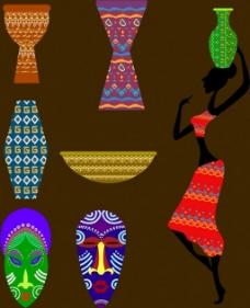 非洲原始部落元素矢量图