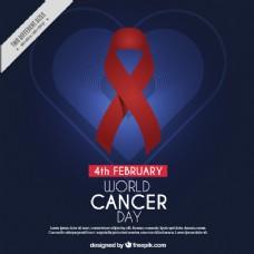深蓝色背景,心脏和红丝带为世界癌症日