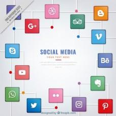 现代背景与广场的社会媒体标识