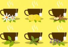 草药茶水果花叶矢量图