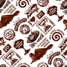 巧克力图标无缝背景图片
