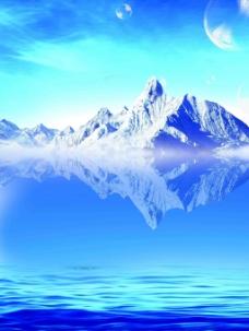 冰川倒影蓝色背景psd素材