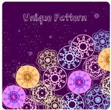 紫色精美花纹装饰