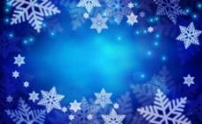 漂亮蓝色雪花背景图