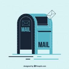 复古邮箱背景的平面设计