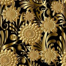 金色花朵背景素材