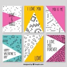 情人节卡片的几何图形收藏