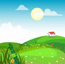 漂亮草地鲜花房子背景图