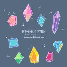 手绘彩色钻石系列