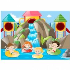 在水上公园玩耍的孩子