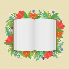 一本空白的开着花的白色书