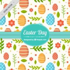 带花卉和蛋的扁平复活节图案