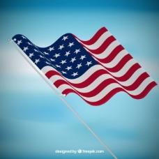 蓝色背景与美国国旗