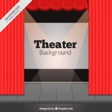 舞台舞台背景的红色幕布